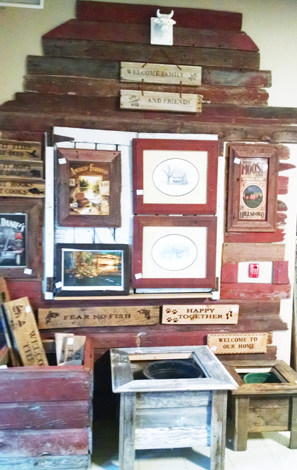 Barn-wood signs, pictures and planters.