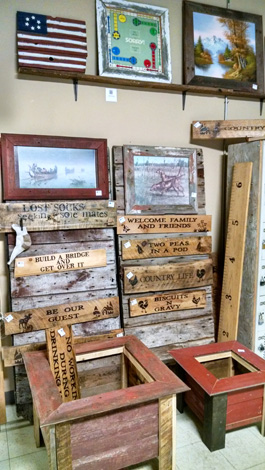 Barn-wood signs, pictures, growth chart, planters.